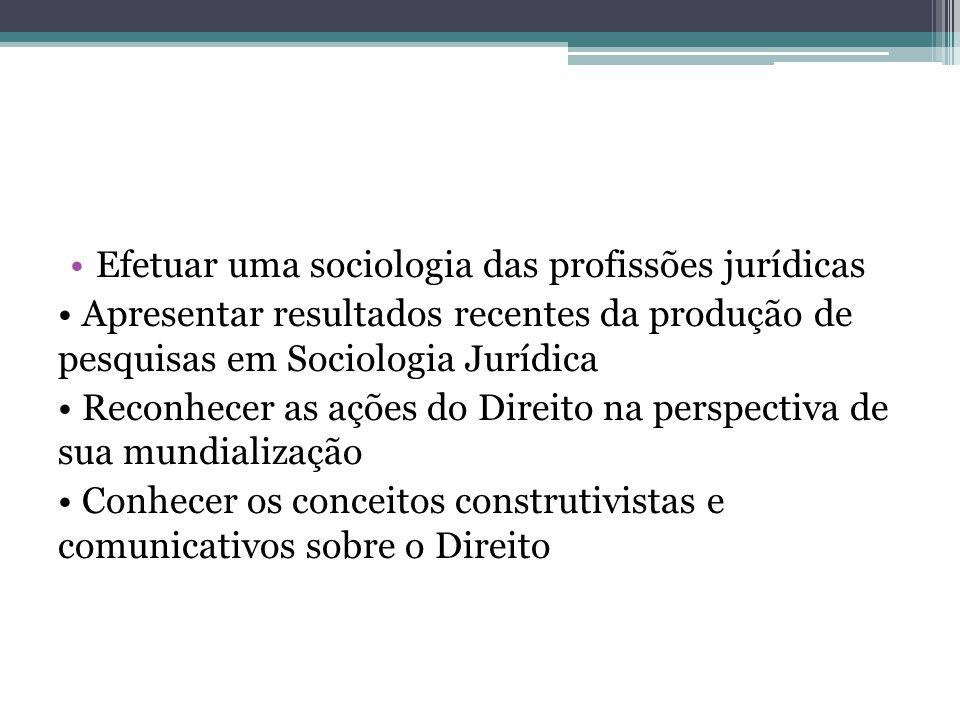 Efetuar uma sociologia das profissões jurídicas Apresentar resultados recentes da produção de pesquisas em Sociologia Jurídica Reconhecer as ações do