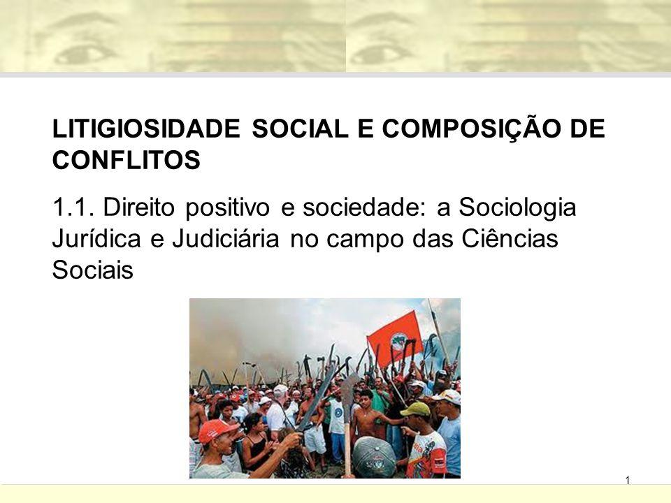 1 LITIGIOSIDADE SOCIAL E COMPOSIÇÃO DE CONFLITOS 1.1. Direito positivo e sociedade: a Sociologia Jurídica e Judiciária no campo das Ciências Sociais