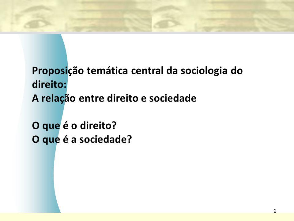 2 Proposição temática central da sociologia do direito: A relação entre direito e sociedade O que é o direito? O que é a sociedade?