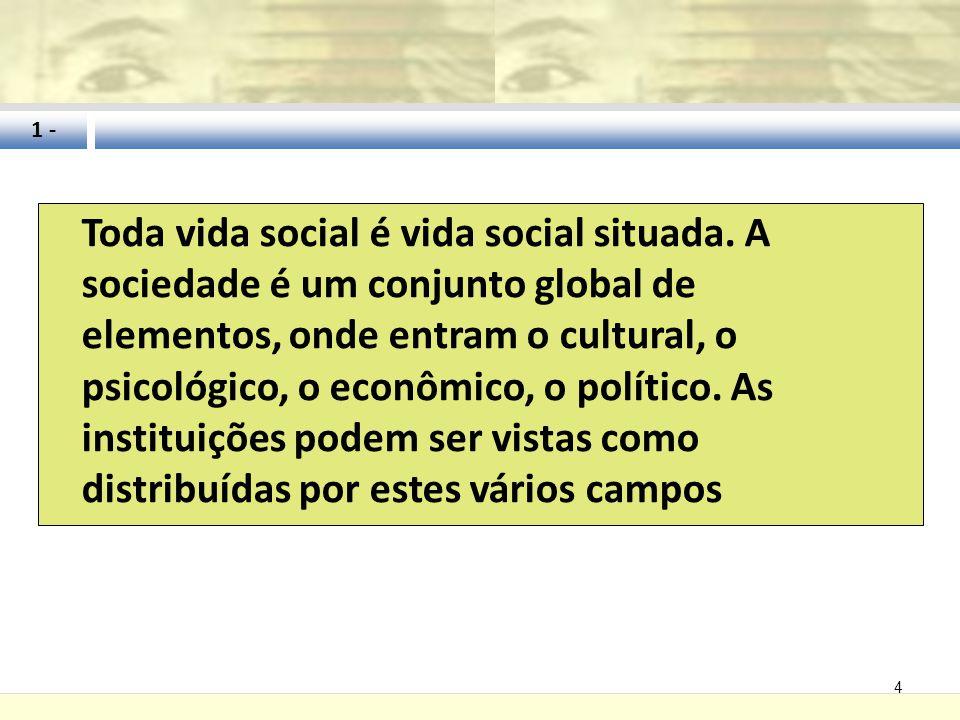 4 Toda vida social é vida social situada. A sociedade é um conjunto global de elementos, onde entram o cultural, o psicológico, o econômico, o polític