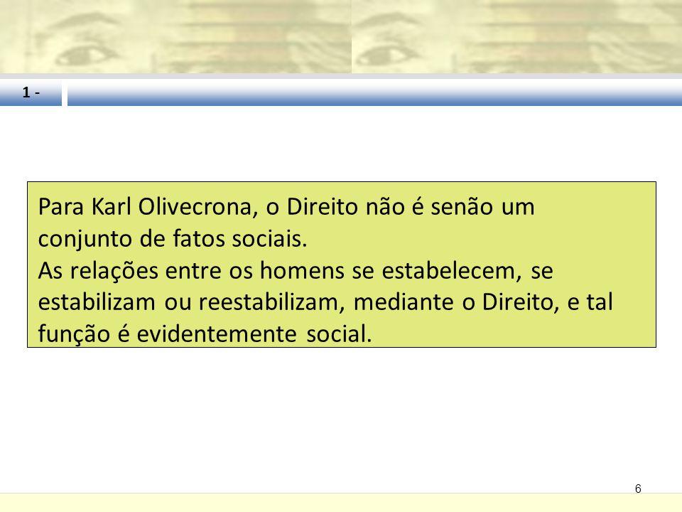 6 1 - Para Karl Olivecrona, o Direito não é senão um conjunto de fatos sociais. As relações entre os homens se estabelecem, se estabilizam ou reestabi