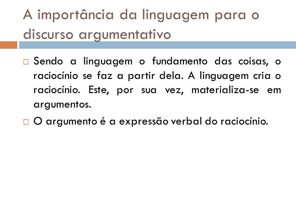 A importância da linguagem para o discurso argumentativo  Sendo a linguagem o fundamento das coisas, o raciocínio se faz a partir dela.