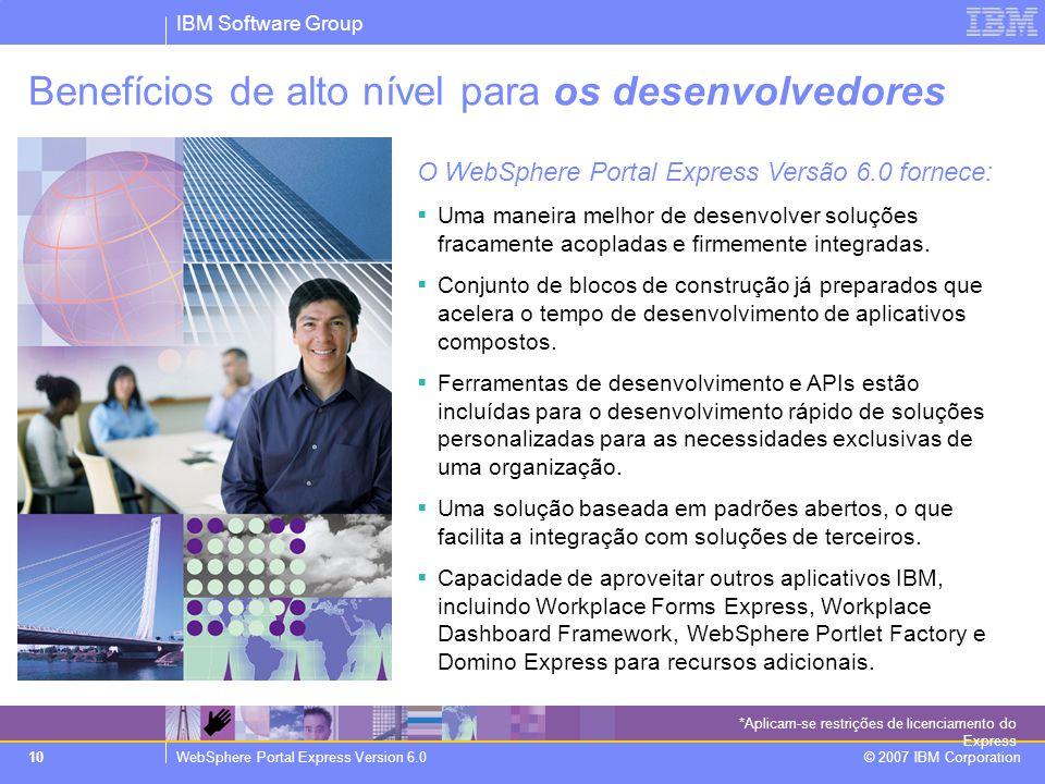 IBM Software Group WebSphere Portal Express Version 6.0 © 2007 IBM Corporation 10 Benefícios de alto nível para os desenvolvedores O WebSphere Portal