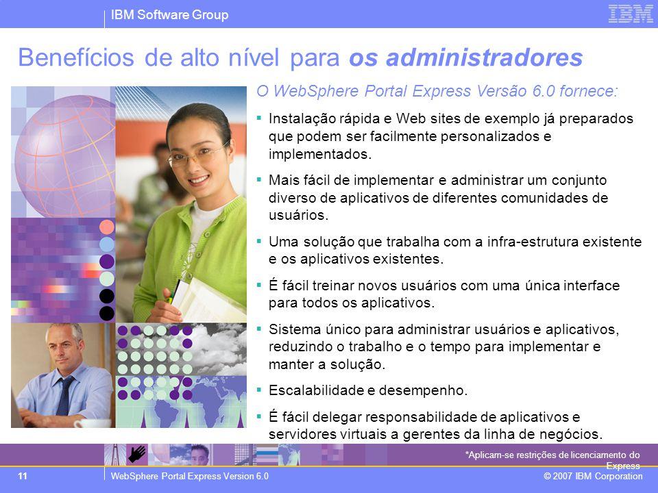 IBM Software Group WebSphere Portal Express Version 6.0 © 2007 IBM Corporation 11 Benefícios de alto nível para os administradores O WebSphere Portal