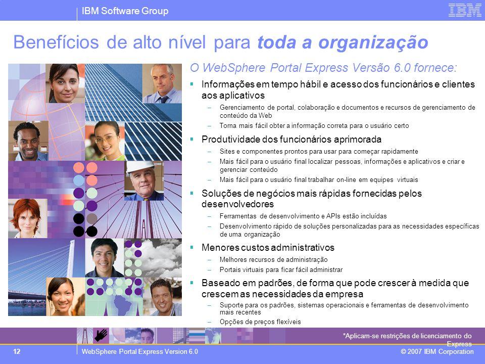 IBM Software Group WebSphere Portal Express Version 6.0 © 2007 IBM Corporation 12 *Aplicam-se restrições de licenciamento do Express Benefícios de alt