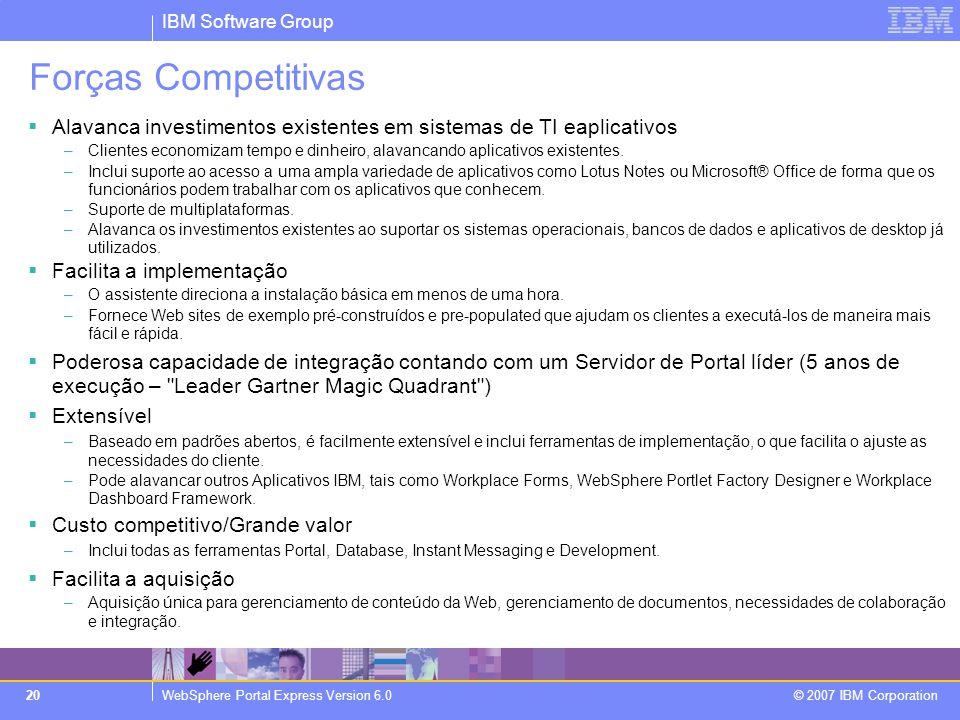 IBM Software Group WebSphere Portal Express Version 6.0 © 2007 IBM Corporation 20 Forças Competitivas  Alavanca investimentos existentes em sistemas