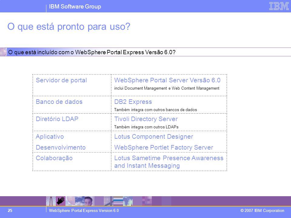 IBM Software Group WebSphere Portal Express Version 6.0 © 2007 IBM Corporation 25 O que está pronto para uso? Servidor de portalWebSphere Portal Serve