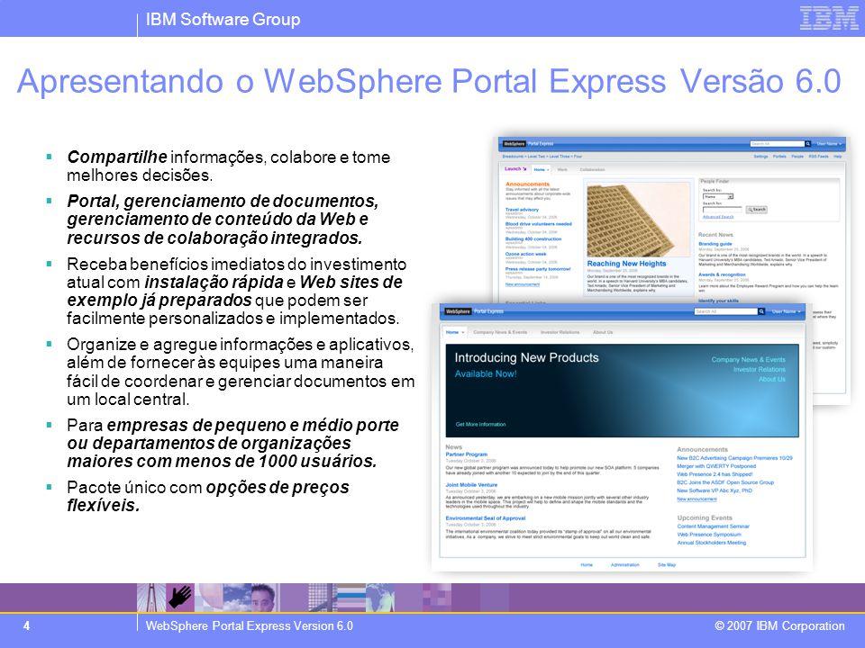 IBM Software Group WebSphere Portal Express Version 6.0 © 2007 IBM Corporation 25 O que está pronto para uso.