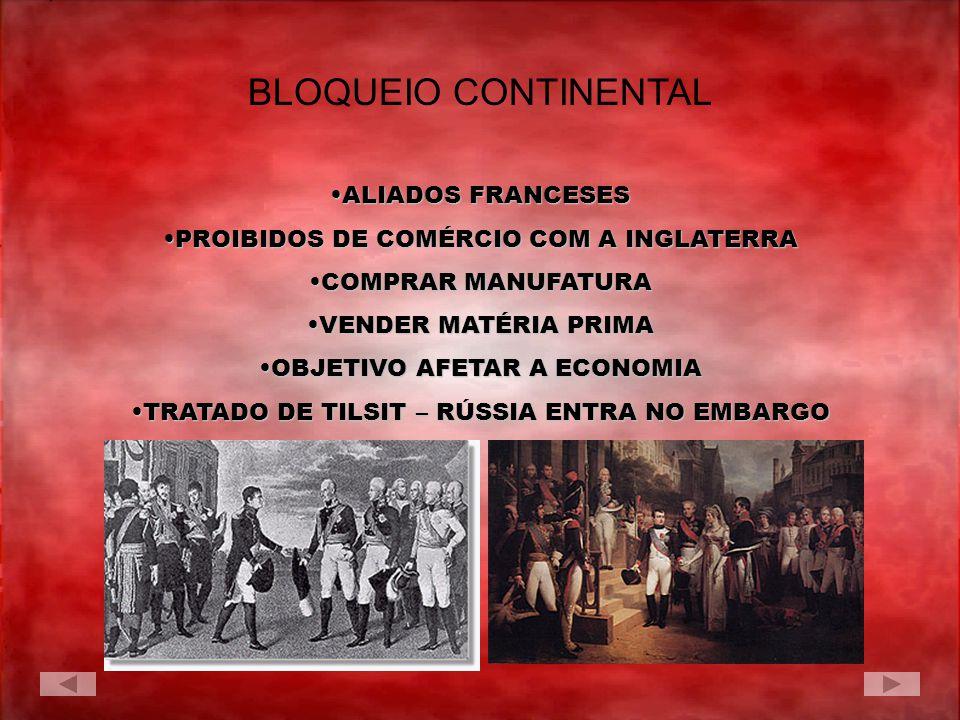 BLOQUEIO CONTINENTAL ALIADOS FRANCESESALIADOS FRANCESES PROIBIDOS DE COMÉRCIO COM A INGLATERRAPROIBIDOS DE COMÉRCIO COM A INGLATERRA COMPRAR MANUFATUR