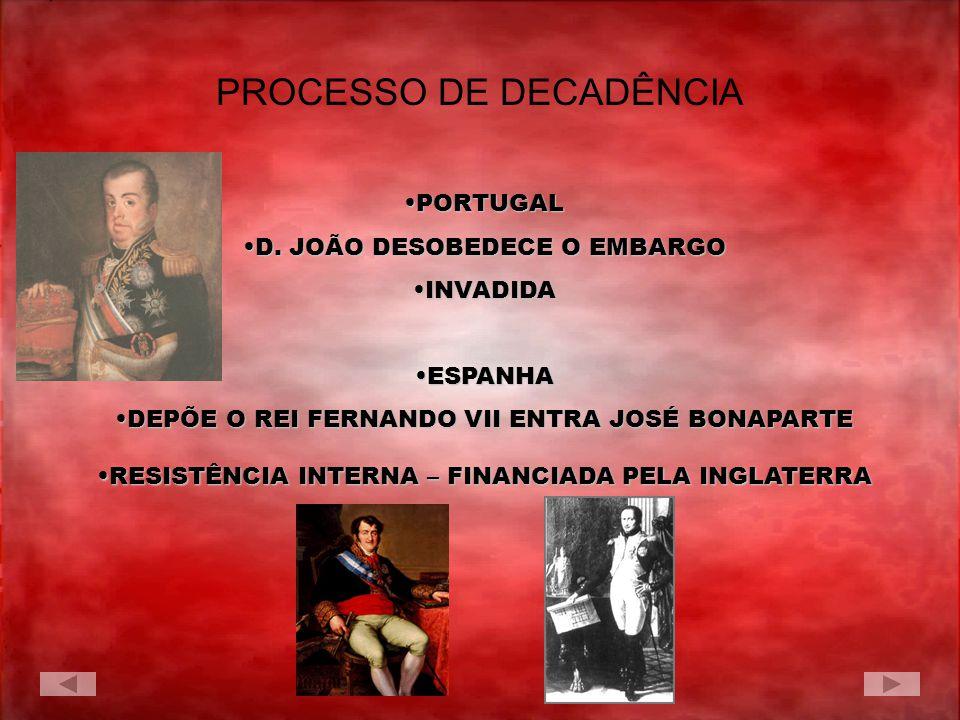 PROCESSO DE DECADÊNCIA PORTUGALPORTUGAL D. JOÃO DESOBEDECE O EMBARGOD. JOÃO DESOBEDECE O EMBARGO INVADIDAINVADIDA ESPANHAESPANHA DEPÕE O REI FERNANDO