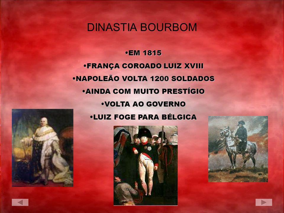 EM 1815EM 1815 FRANÇA COROADO LUIZ XVIIIFRANÇA COROADO LUIZ XVIII NAPOLEÃO VOLTA 1200 SOLDADOSNAPOLEÃO VOLTA 1200 SOLDADOS AINDA COM MUITO PRESTÍGIOAI
