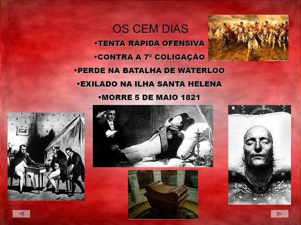 TENTA RÁPIDA OFENSIVATENTA RÁPIDA OFENSIVA CONTRA A 7º COLIGAÇÃOCONTRA A 7º COLIGAÇÃO PERDE NA BATALHA DE WATERLOOPERDE NA BATALHA DE WATERLOO EXILADO