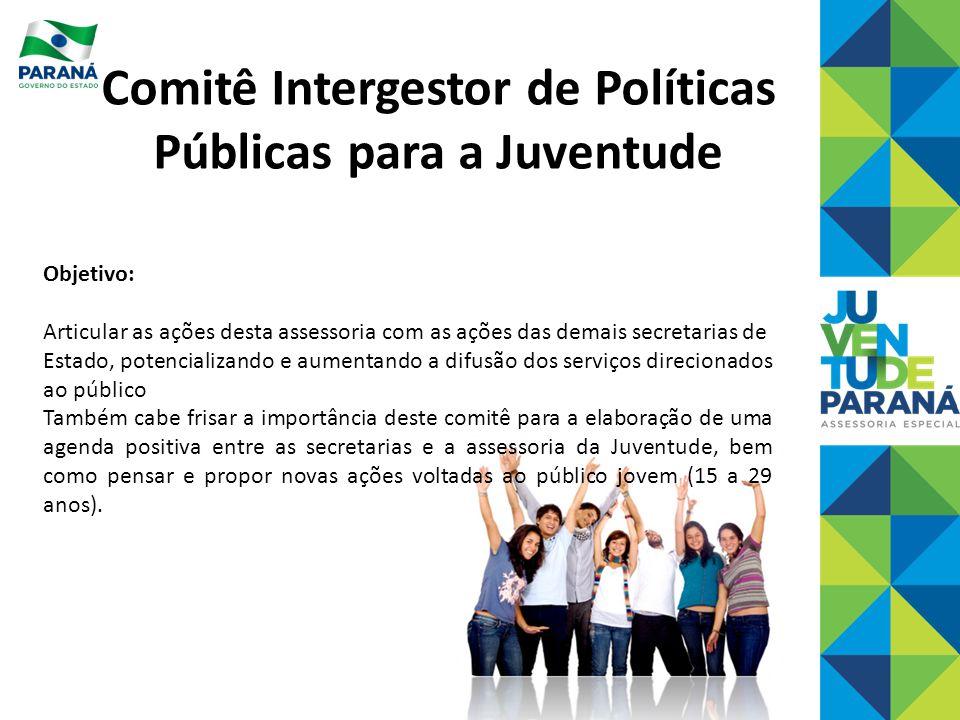Comitê Intergestor de Políticas Públicas para a Juventude Objetivo: Articular as ações desta assessoria com as ações das demais secretarias de Estado,