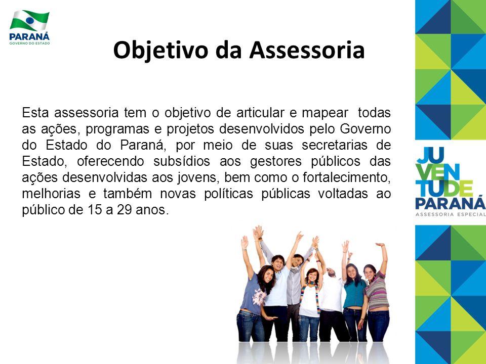 Objetivo da Assessoria Esta assessoria tem o objetivo de articular e mapear todas as ações, programas e projetos desenvolvidos pelo Governo do Estado