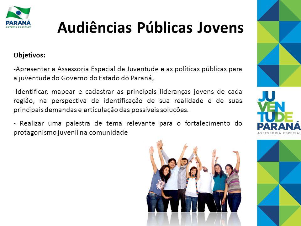 Objetivos: -Apresentar a Assessoria Especial de Juventude e as políticas públicas para a juventude do Governo do Estado do Paraná, -Identificar, mapea