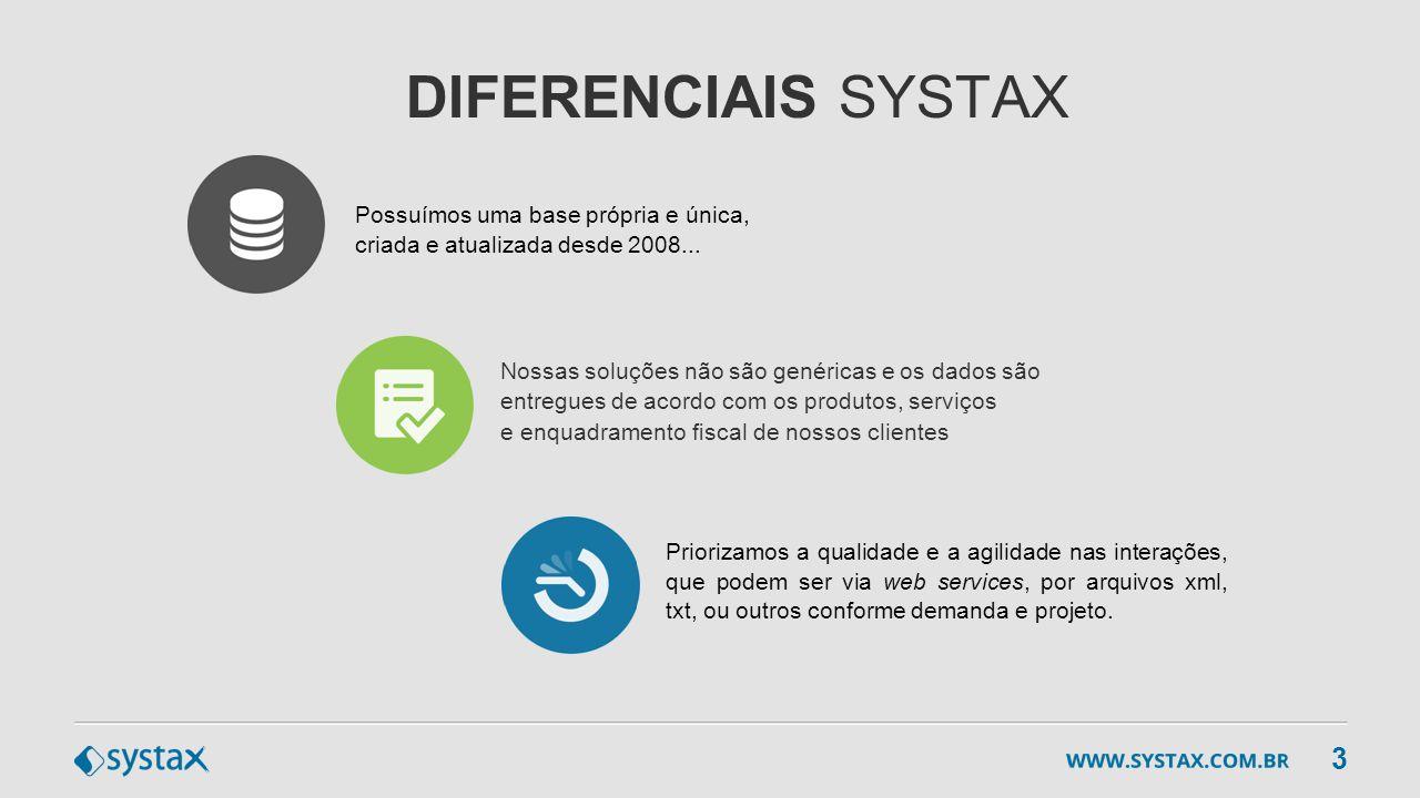 DIFERENCIAIS SYSTAX Priorizamos a qualidade e a agilidade nas interações, que podem ser via web services, por arquivos xml, txt, ou outros conforme de