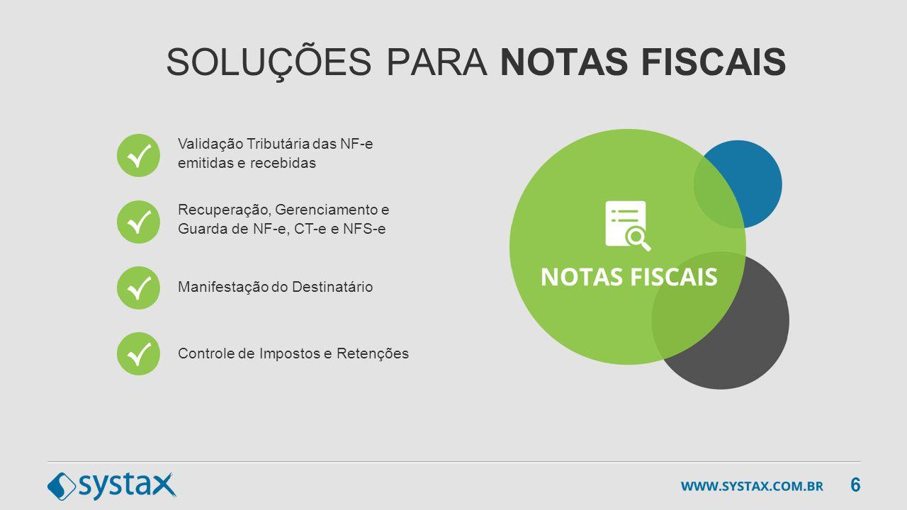SOLUÇÕES PARA NOTAS FISCAIS Controle de Impostos e Retenções Validação Tributária das NF-e emitidas e recebidas Recuperação, Gerenciamento e Guarda de