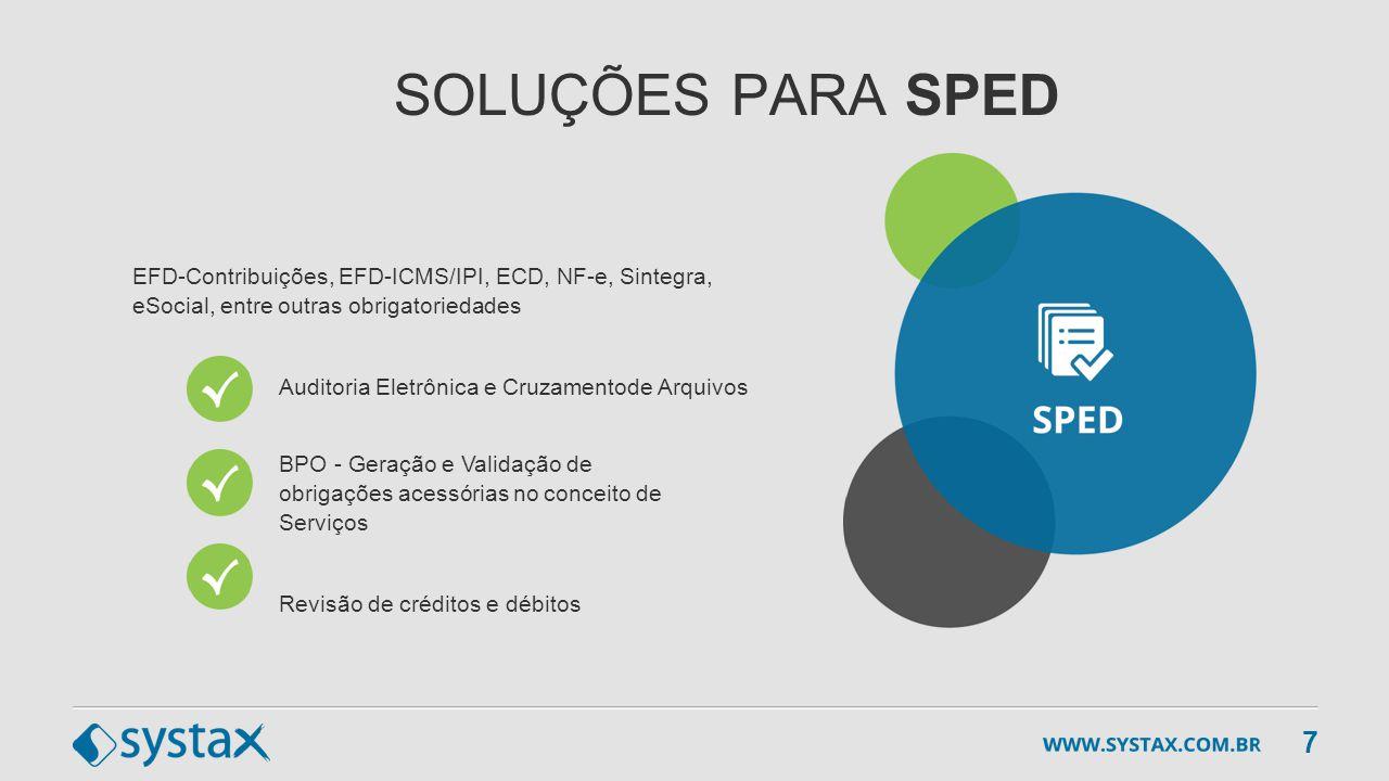 SOLUÇÕES PARA SPED EFD-Contribuições, EFD-ICMS/IPI, ECD, NF-e, Sintegra, eSocial, entre outras obrigatoriedades Auditoria Eletrônica e Cruzamentode Ar