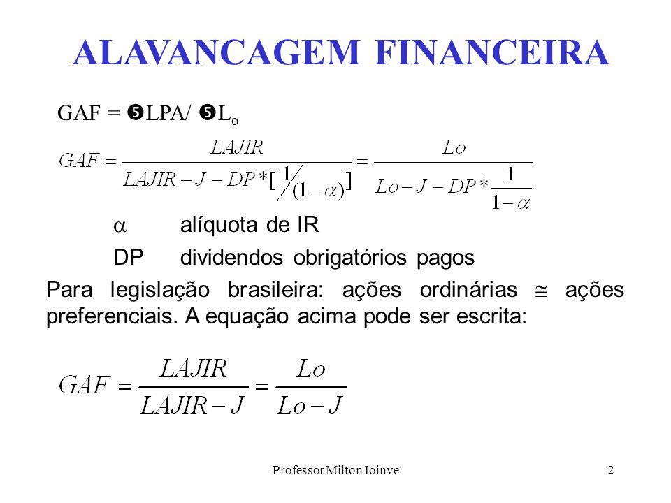 Professor Milton Ioinve12 TRIT - CUSTO MÉDIO DE CAPITAL Lembrando que TRIT é: t = Lo/AT = Lo/PT e que, Lo = L 1 + J segue, t = J/PT + L 1 /PT Observe que, c = J/ET J = c*ET T = L 1 /PL L 1 = T*PL t = (c*ET)/PT + (T*PL)/PT t = c* (ET/PT) + T*(PL/PT) Mas, ET/PT = e (endividamento total) PL/PT = p(%de PL em PT) então, t = c* e + T*p (1) Pode-se mostrar que: T = t + q*(t-c) (2)
