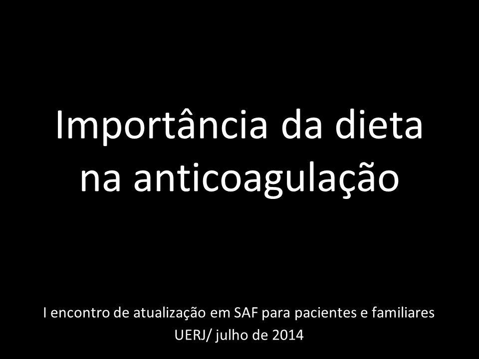 Importância da dieta na anticoagulação I encontro de atualização em SAF para pacientes e familiares UERJ/ julho de 2014