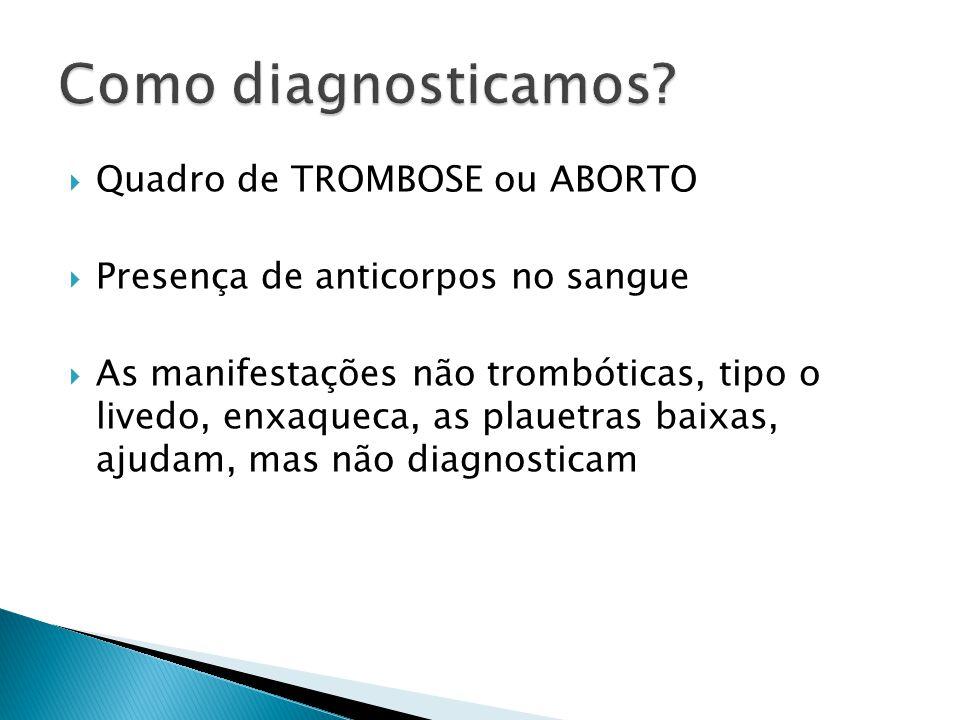  Quadro de TROMBOSE ou ABORTO  Presença de anticorpos no sangue  As manifestações não trombóticas, tipo o livedo, enxaqueca, as plauetras baixas, a
