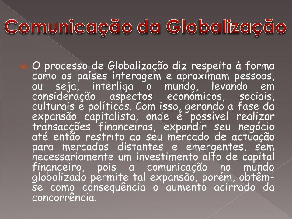  O processo de Globalização diz respeito à forma como os países interagem e aproximam pessoas, ou seja, interliga o mundo, levando em consideração as