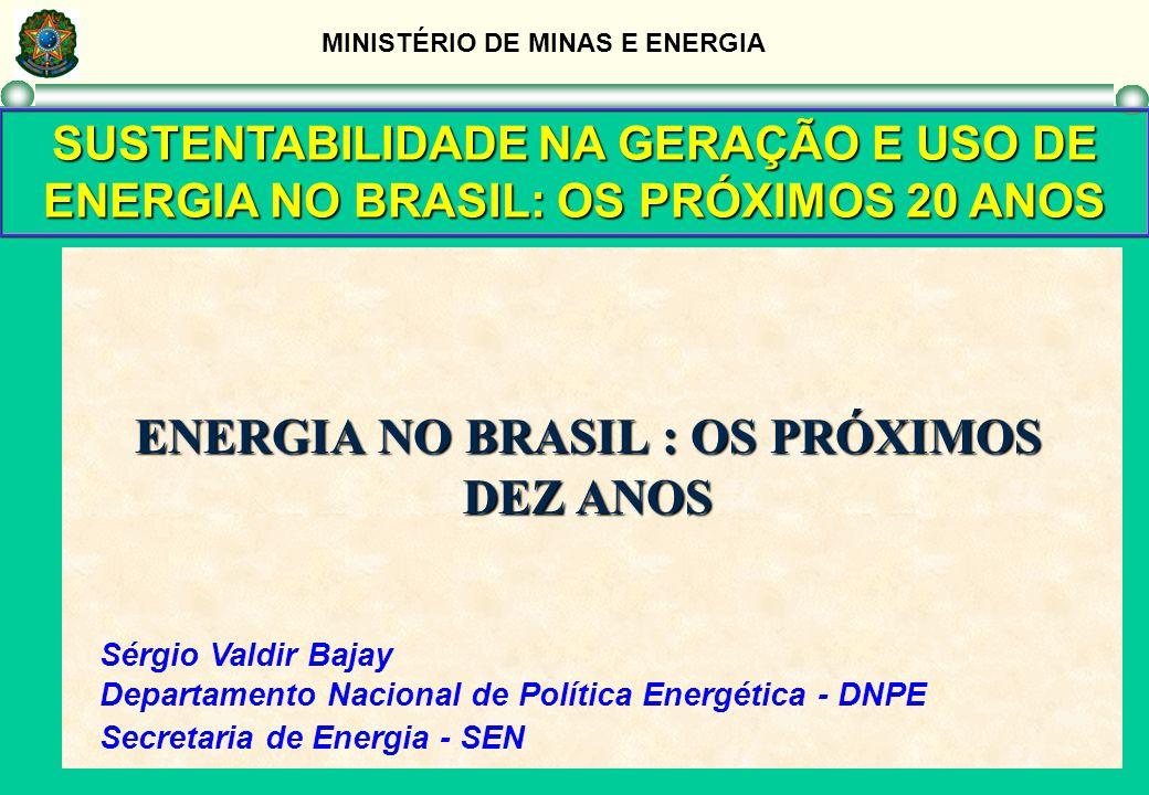MINISTÉRIO DE MINAS E ENERGIA SUSTENTABILIDADE NA GERAÇÃO E USO DE ENERGIA NO BRASIL: OS PRÓXIMOS 20 ANOS ENERGIA NO BRASIL : OS PRÓXIMOS DEZ ANOS Sér
