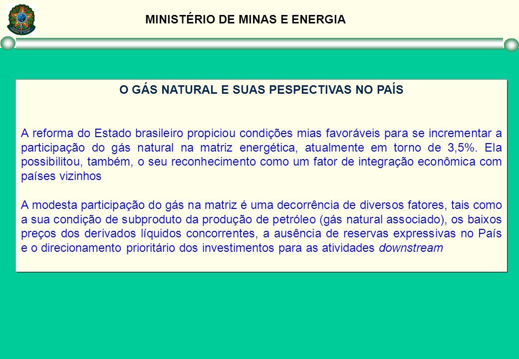 MINISTÉRIO DE MINAS E ENERGIA O GÁS NATURAL E SUAS PESPECTIVAS NO PAÍS A reforma do Estado brasileiro propiciou condições mias favoráveis para se incr