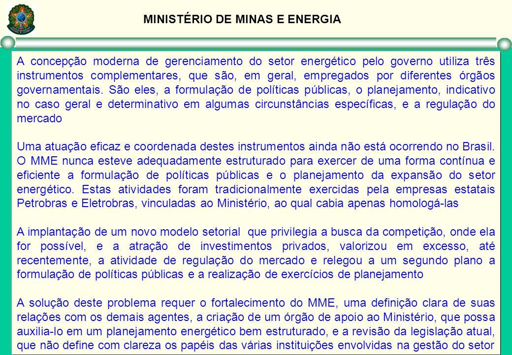 MINISTÉRIO DE MINAS E ENERGIA A concepção moderna de gerenciamento do setor energético pelo governo utiliza três instrumentos complementares, que são,