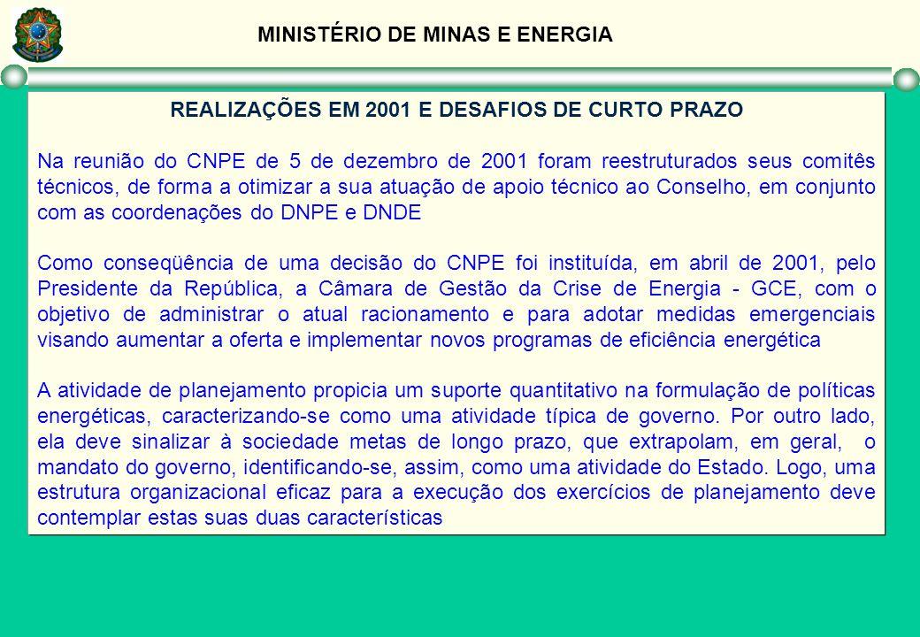 MINISTÉRIO DE MINAS E ENERGIA REALIZAÇÕES EM 2001 E DESAFIOS DE CURTO PRAZO Na reunião do CNPE de 5 de dezembro de 2001 foram reestruturados seus comi