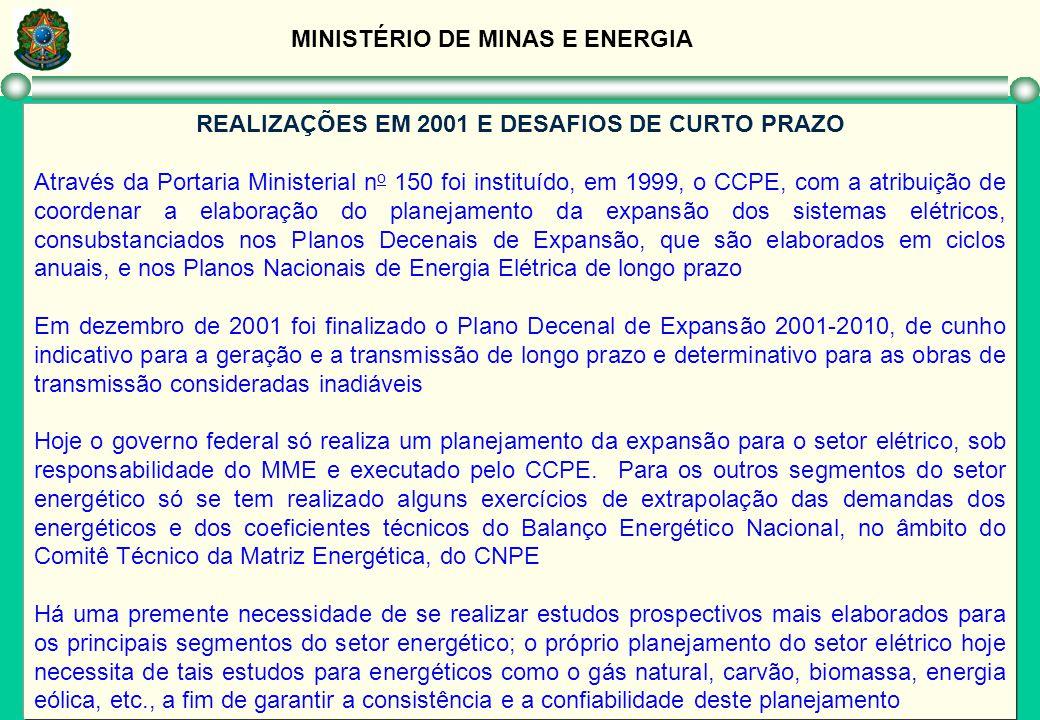 MINISTÉRIO DE MINAS E ENERGIA REALIZAÇÕES EM 2001 E DESAFIOS DE CURTO PRAZO Através da Portaria Ministerial n o 150 foi instituído, em 1999, o CCPE, c