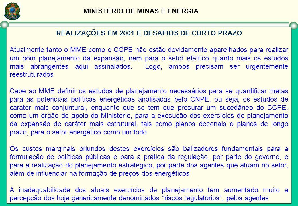 MINISTÉRIO DE MINAS E ENERGIA REALIZAÇÕES EM 2001 E DESAFIOS DE CURTO PRAZO Atualmente tanto o MME como o CCPE não estão devidamente aparelhados para