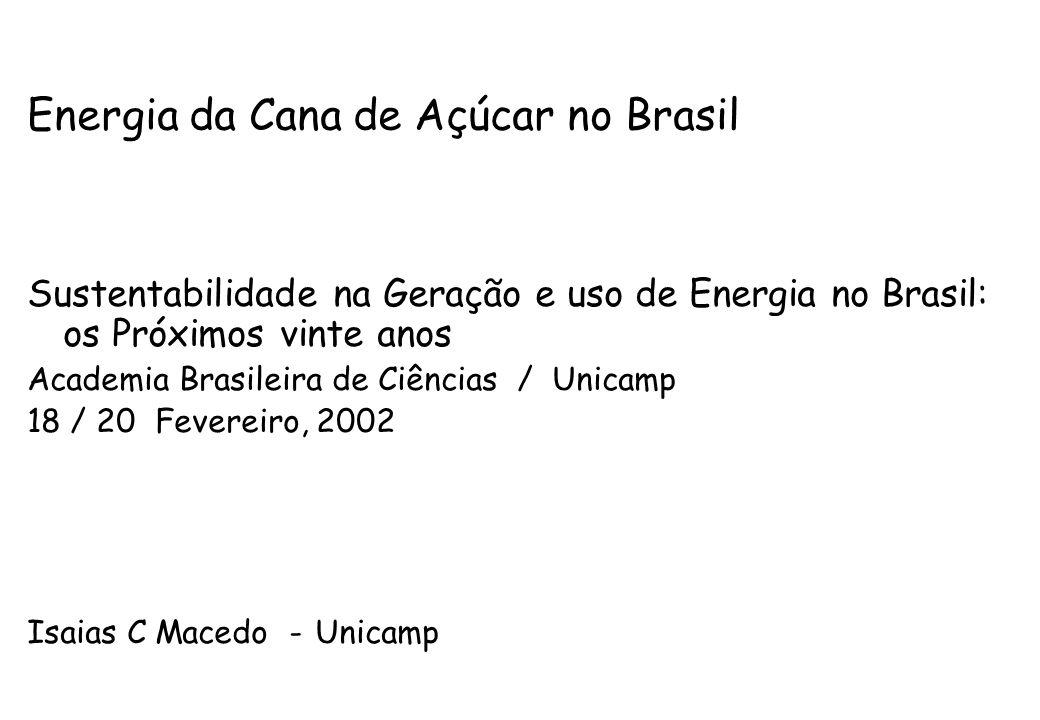 Energia da Cana de Açúcar no Brasil Sustentabilidade na Geração e uso de Energia no Brasil: os Próximos vinte anos Academia Brasileira de Ciências / U