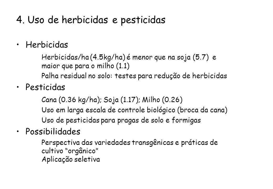 4. Uso de herbicidas e pesticidas Herbicidas Herbicidas/ha (4.5kg/ha) é menor que na soja (5.7) e maior que para o milho (1.1) Palha residual no solo: