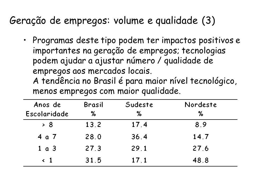 Geração de empregos: volume e qualidade (3) Programas deste tipo podem ter impactos positivos e importantes na geração de empregos; tecnologias podem