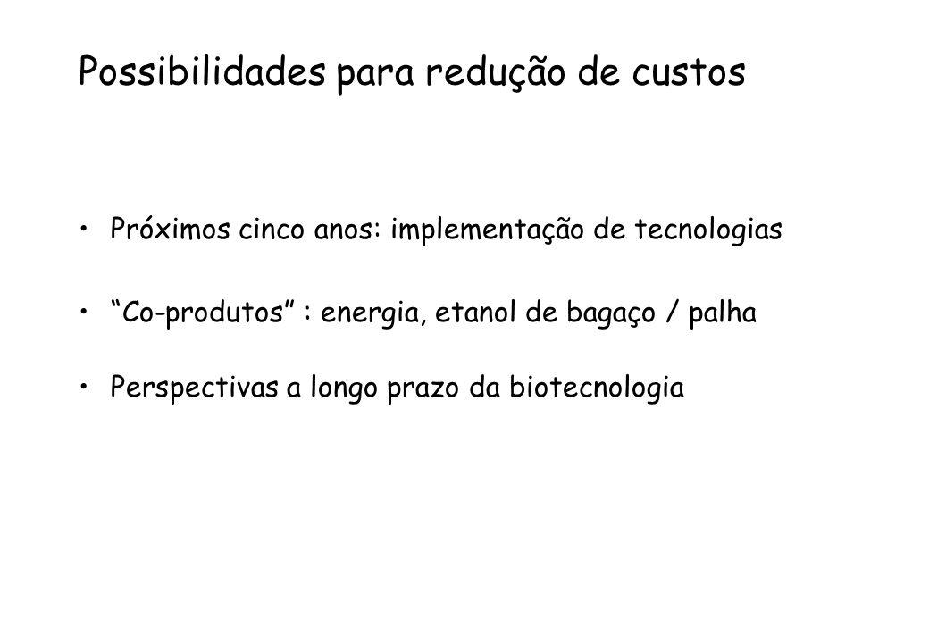 """Possibilidades para redução de custos Próximos cinco anos: implementação de tecnologias """"Co-produtos"""" : energia, etanol de bagaço / palha Perspectivas"""