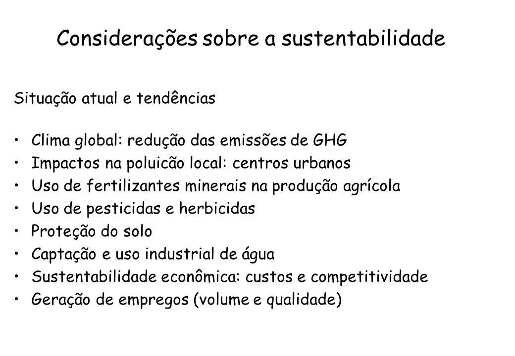 Considerações sobre a sustentabilidade Situação atual e tendências Clima global: redução das emissões de GHG Impactos na poluicão local: centros urban