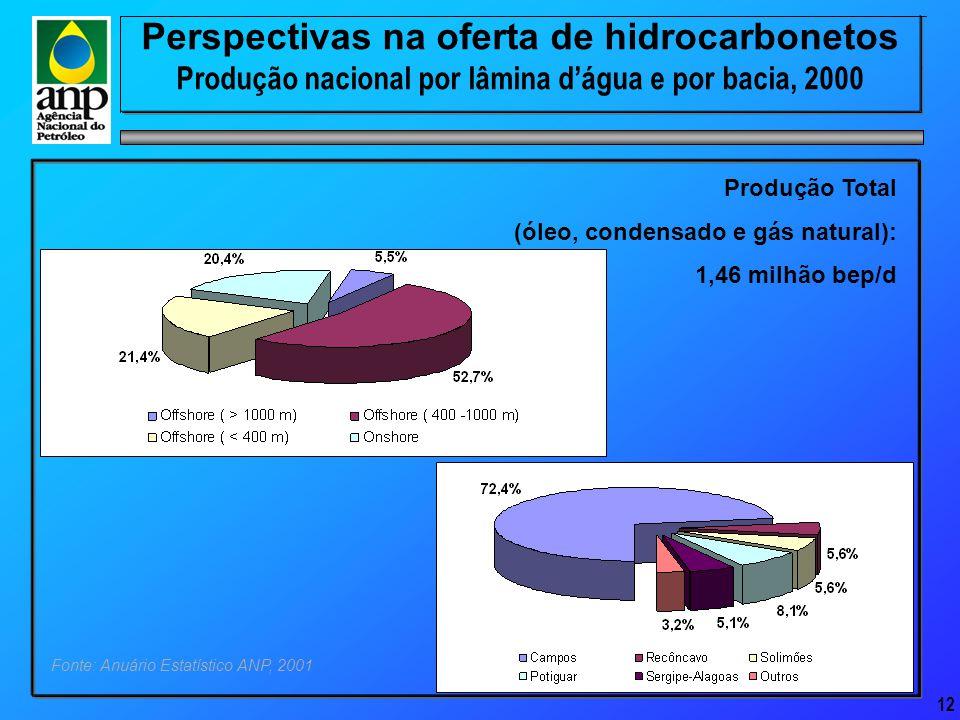 12 Fonte: Anuário Estatístico ANP, 2001 Produção Total (óleo, condensado e gás natural): 1,46 milhão bep/d Perspectivas na oferta de hidrocarbonetos Produção nacional por lâmina d'água e por bacia, 2000