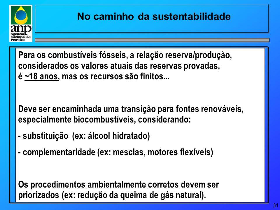 31 No caminho da sustentabilidade Para os combustíveis fósseis, a relação reserva/produção, considerados os valores atuais das reservas provadas, é ~18 anos, mas os recursos são finitos...