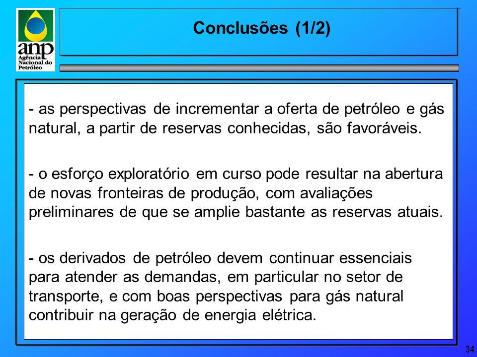 34 Conclusões (1/2) - as perspectivas de incrementar a oferta de petróleo e gás natural, a partir de reservas conhecidas, são favoráveis.
