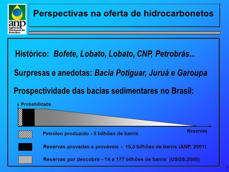 8 Perspectivas na oferta de hidrocarbonetos Bacias Sedimentares Brasileiras (2000) 29 bacias sedimentares - 6,4 milhões km 2 de bacias sedimentares - 4,8 milhões km 2 - onshore - 1,6 milhão km 2 - offshore 8.000 km de costa atlântica Reservas provadas de petróleo e gás natural - 9,9 bilhões bep Reservas totais de petróleo e gás natural - 15,3 bilhões bep Bacia Madre de Deus Bacia do Tacutu Bacia do Alto Tapajós Bacia do Parecis Bacia do Pantanal Bacia do Bananal Bacia do São Francisco Bacia do Marajó Bacia do Barreirinhas Bacia do Paranaíba Bacia do Araripe Bacia do Pernambuco- Paraíba Bacia de Irecê Fonte: Anuário Estatístico ANP, 2000