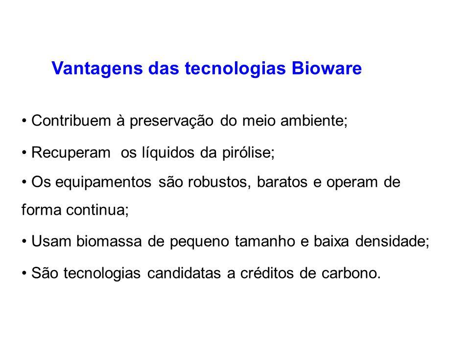 Silo de alimentação Câmara de combustão Reator (forno) Sistema de recuperação de bio-óleo Reservatório de carvão Reservatório de acido pirolenhoso Bri