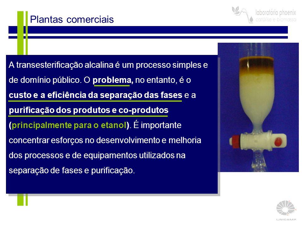 11 Plantas comerciais A transesterificação alcalina é um processo simples e de domínio público. O problema, no entanto, é o custo e a eficiência da se
