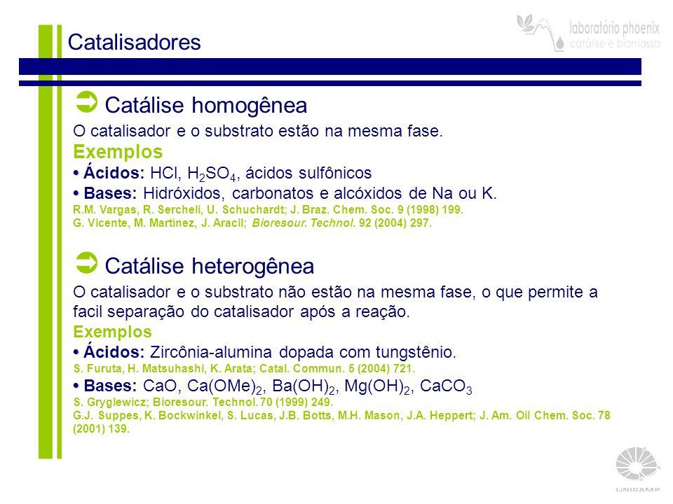 16 Catalisadores  Catálise homogênea O catalisador e o substrato estão na mesma fase. Exemplos Ácidos: HCl, H 2 SO 4, ácidos sulfônicos Bases: Hidróx