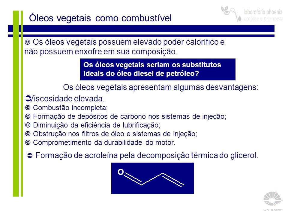 3  Os óleos vegetais possuem elevado poder calorífico e não possuem enxofre em sua composição. Os óleos vegetais seriam os substitutos ideais do óleo
