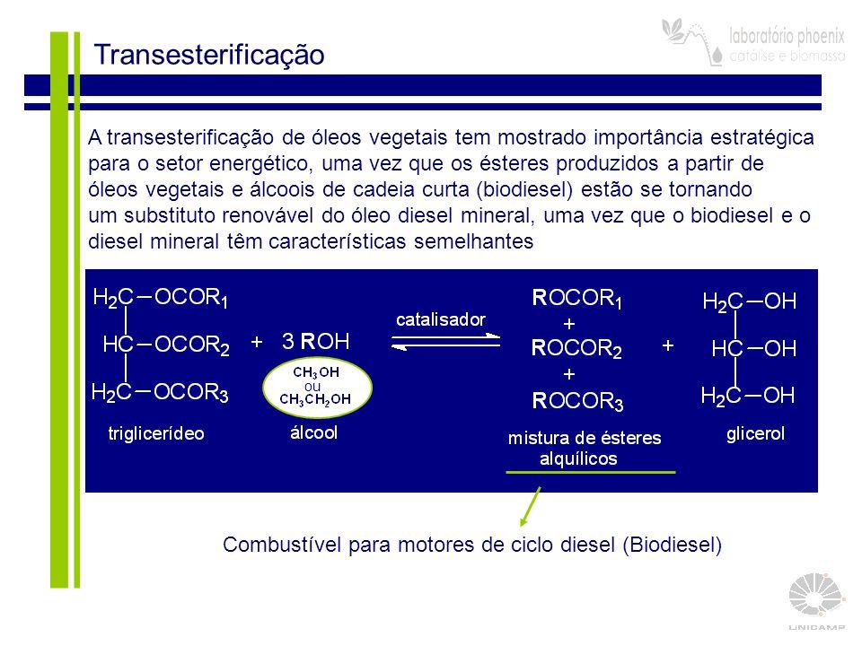 4 Transesterificação Combustível para motores de ciclo diesel (Biodiesel) A transesterificação de óleos vegetais tem mostrado importância estratégica