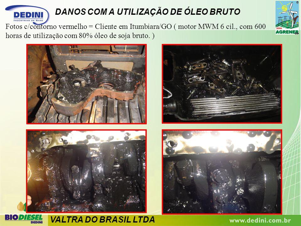 Fotos c/contorno vermelho = Cliente em Itumbiara/GO ( motor MWM 6 cil., com 600 horas de utilização com 80% óleo de soja bruto. ) DANOS COM A UTILIZAÇ