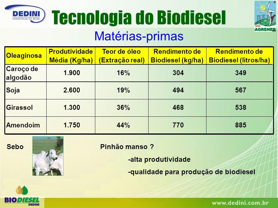 Matérias-primas Teor de óleo (Extração real) 1.300 16%1.900304 494 468 770 Oleaginosa 349 567 538 Rendimento de Biodiesel (kg/ha) Rendimento de Biodie
