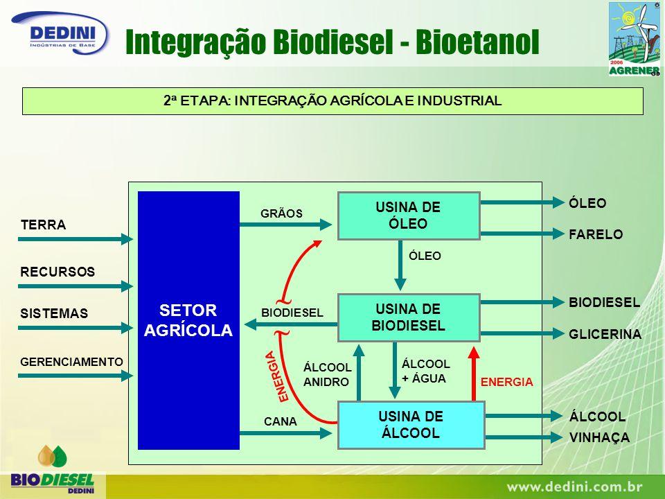 ENERGIA ~ ~ 2 ª ETAPA: INTEGRAÇÃO AGRÍCOLA E INDUSTRIAL ENERGIA ÁLCOOL + ÁGUA ÁLCOOL ANIDRO ÓLEO TERRA RECURSOS SISTEMAS GERENCIAMENTO BIODIESEL GLICE