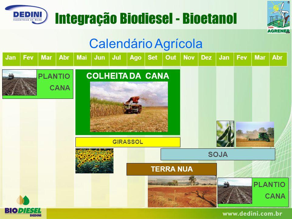 JanFevMarAbrMaiJunJulAgoSetOutNovDezJanFevMarAbr COLHEITA DA CANA Calendário Agrícola SOJA GIRASSOL PLANTIO CANA PLANTIO CANA TERRA NUA Integração Bio